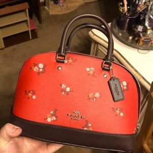 Coach Mini Sierra Satchel Baby Bouquet Print Red